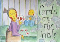 illustrazione da passeggio carte sul tavolo