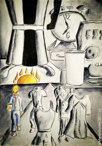 Una storia di caffè, Breve illustrazione Narrata , illustrazione da passeggio - Monday morninig Story -Lunedì Mattina