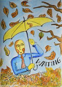illustrazione da passeggio waiting
