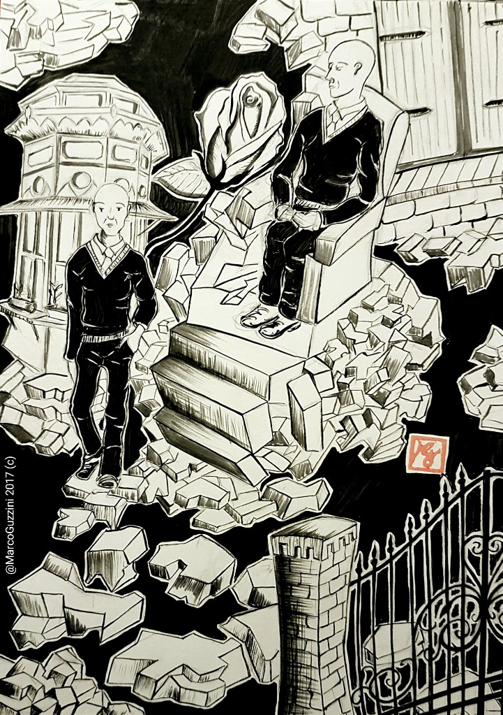 illustrazione monologo Cinico Risveglio idi Marco Guzzini Strumenti per disegnare con inchiostro da disegno