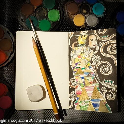 illiustrazione sulla prima pagina del mio nuovo taccuino ispirata a Klimt - l'albero della vita