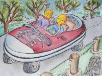 viaggiare insieme illustrazione da passeggio